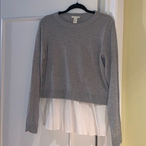 H&M grey wool shirt attached to white blouse